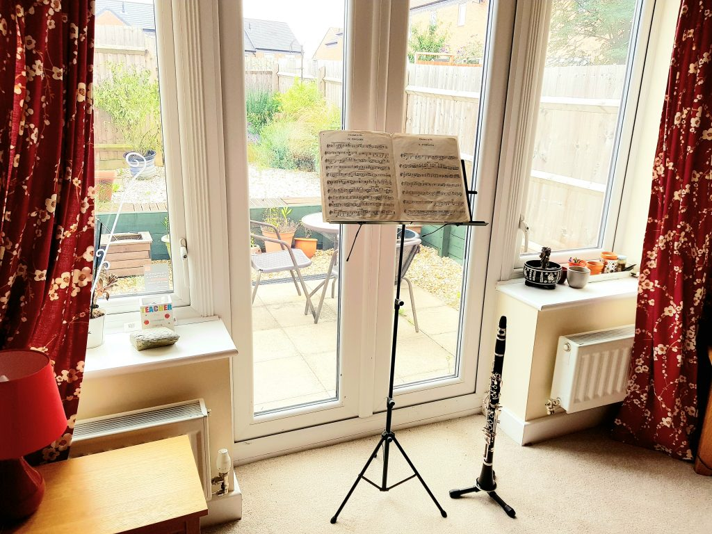 Music stand and clarinet