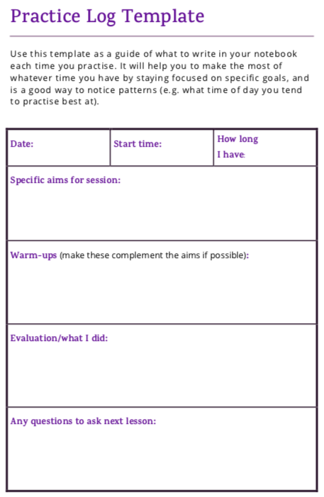 Practice Log Template